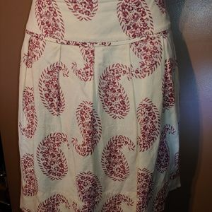 Red Paisley & Creme Skirt by Ann Taylor